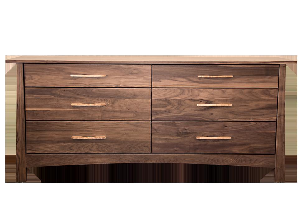 Reflections Walnut 6 Drawer Dresser