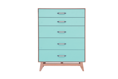 Montano Limited Edition 5 Drawer Chest Teal/Natural Maple