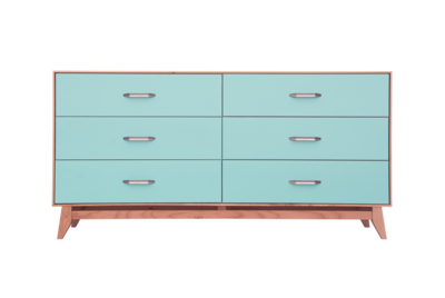 Montano Limited Edition 6 Drawer Dresser Teal/Natural Maple