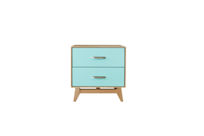 Montano Limited Edition 2 Drawer Nightstand Teal/Natural Maple