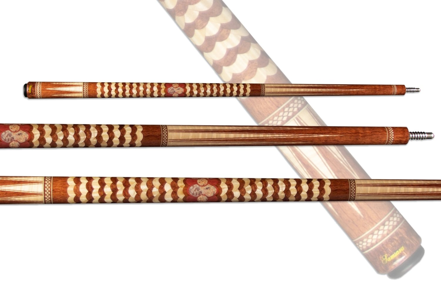"""Samsara Twisted Cue - Waterfall Bubinga, Curly Maple, Pink Ivory & Crazy Lace """"Twisted"""" Cue"""