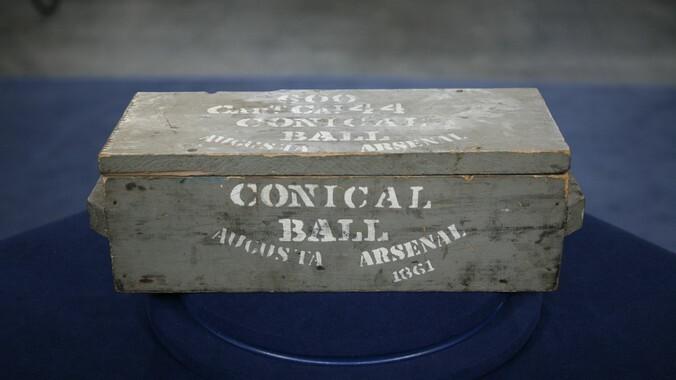 A prop Conical Ball ammunition box stencils American Civil war