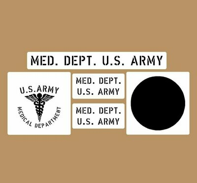 Medical Dept stencil set (med 1) stencil set for re-enactors ww2 army prop