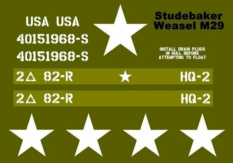 Studebaker Weasel M29 stencil set for re-enactors ww2 army prop