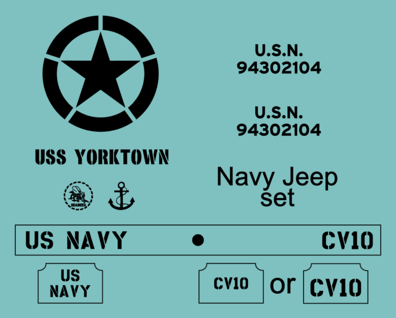 Navy Jeep stencil set ww2 military vehicle Willys Ford Hotchkiss