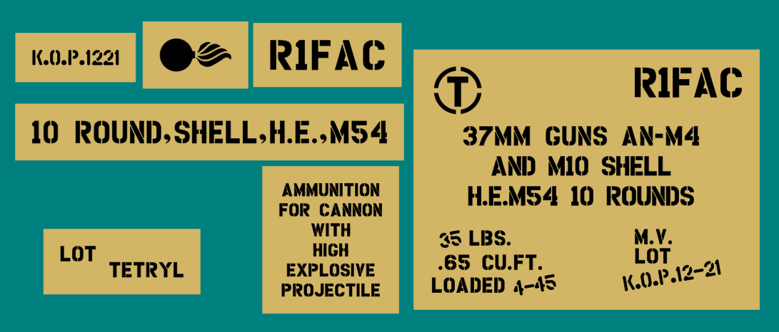 37mm ammo shell box stencil set (Mk2)