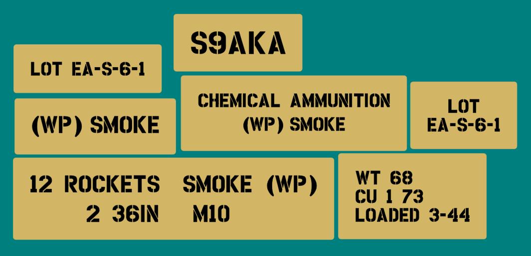 Bazooka smoke 12 rocket stencil set