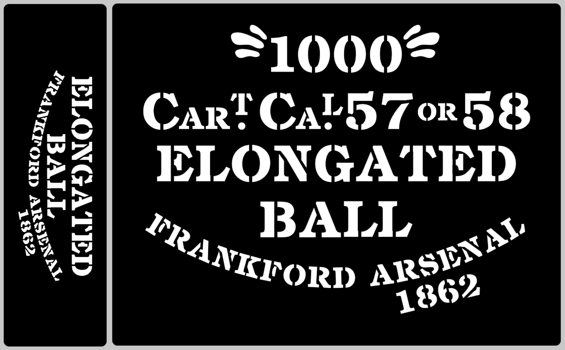 Elongated Ball ammunition box stencils American Civil war, choice of Arsenal.