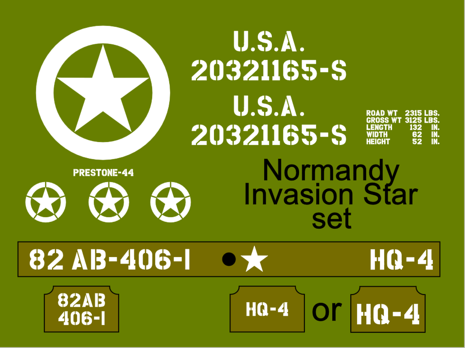 Jeep Normandy Invasion Star stencil set ww2 army Jeep Willys Ford Hotchkiss