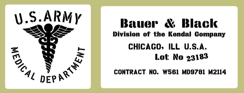 Medical stencil set, Bauer & Black (med 9) stencil set for re-enactors ww2 army prop