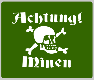 German Achtung Minen sign stencil stencil set for re-enactors ww2 army prop