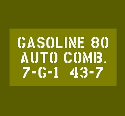 Jerry Can Gasoline 80 stencil Jeep Dodge GMC ww2 prop military vehicle