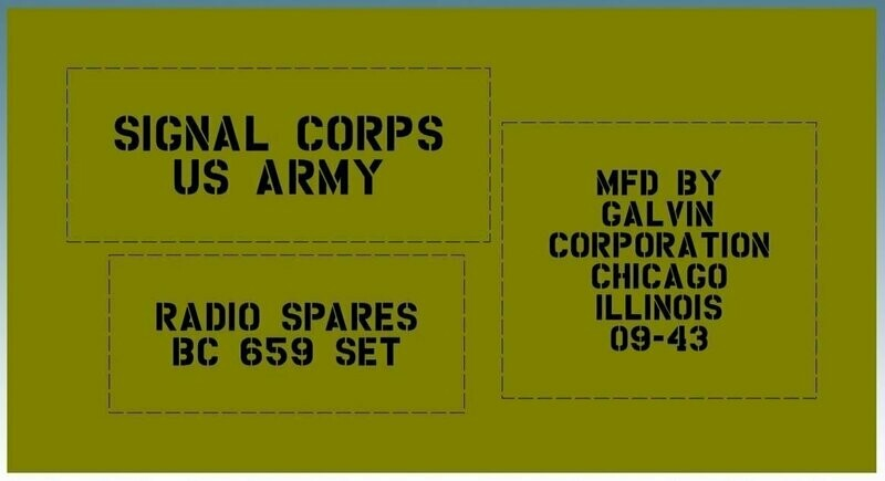 Radio spares parts box stencil set for re-enactors ww2 army