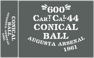 Conical Ball ammunition box stencils American Civil war (A) prop
