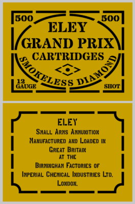 Eley Grand Prix Cartridges stencil set for re-enactors prop