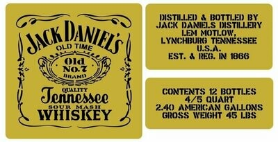 Jack Daniels whisky crate stencil set for re-enactors ww2 army Jeep prop