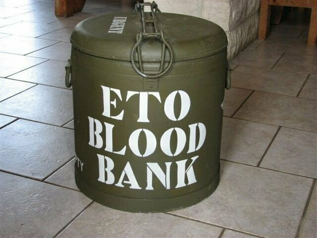 ETO Blood bank Marmite container stencil set for re-enactors ww2 army medical prop