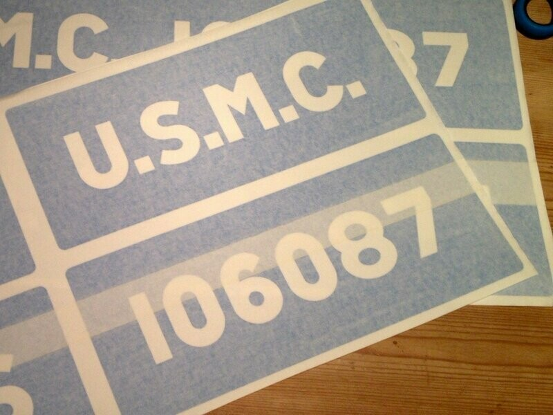 Factory font side of tub U.S.M.C. stencils for Jeep ww2 army