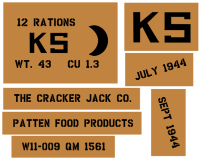 K Ration (Early style) crate stencils inc plans to build stencil set for re-enactors ww2 army prop