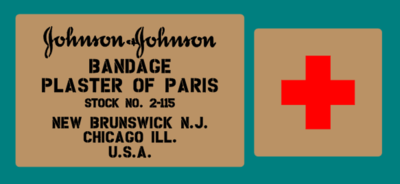 Johnson and Johnson plaster of Paris box stencil set.