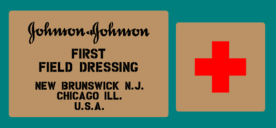 Johnson and Johnson field dressings box stencil set.