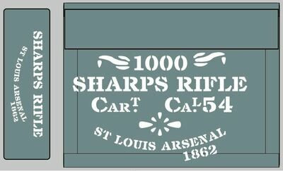 Sharps Rifle ammunition box stencils American Civil war (L) prop