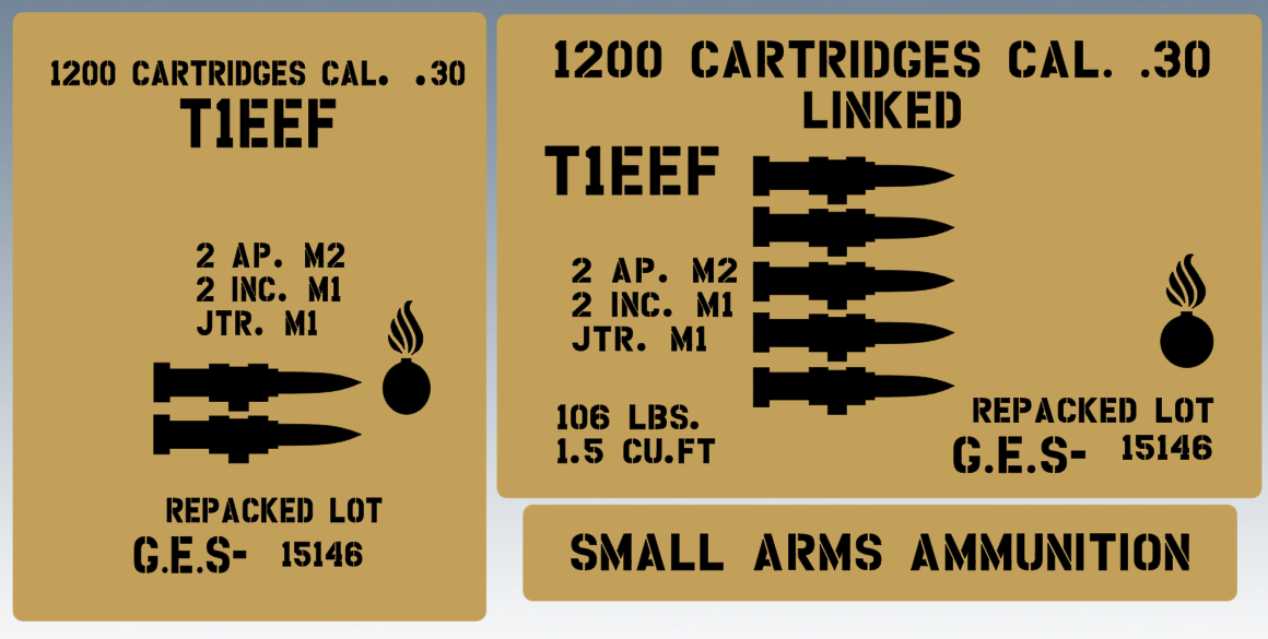 30 Cal linked ammo box stencil set for re-enactors ww2 army Jeep prop