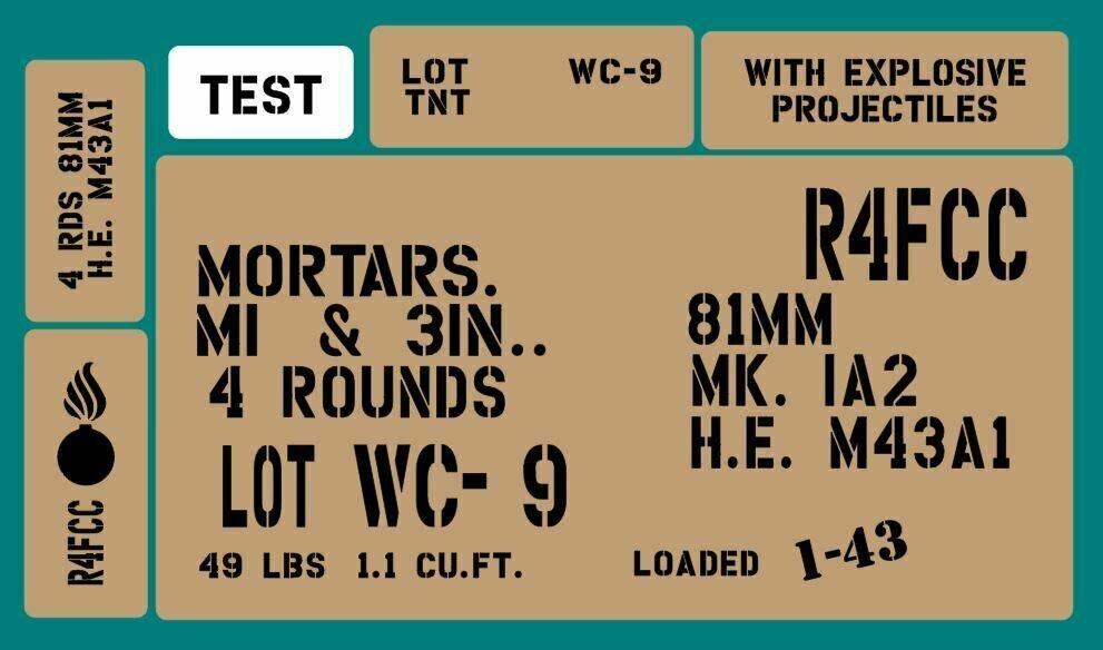 81mm Mortar box stencil set
