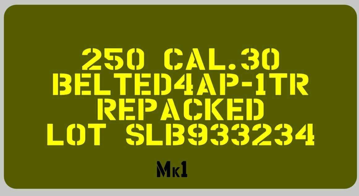 Ammo can stencil 30 Cal or 50 Cal stencil set for re-enactors ww2 army Jeep prop