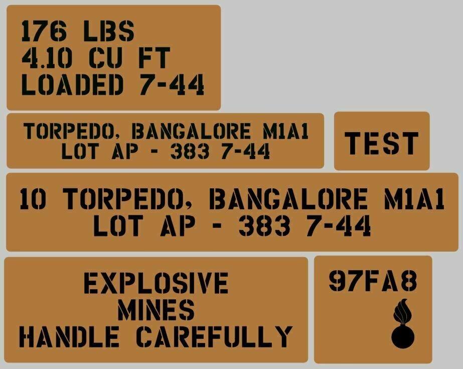 Bangalore torpedo crate stencil set for re-enactors ww2 army Jeep prop