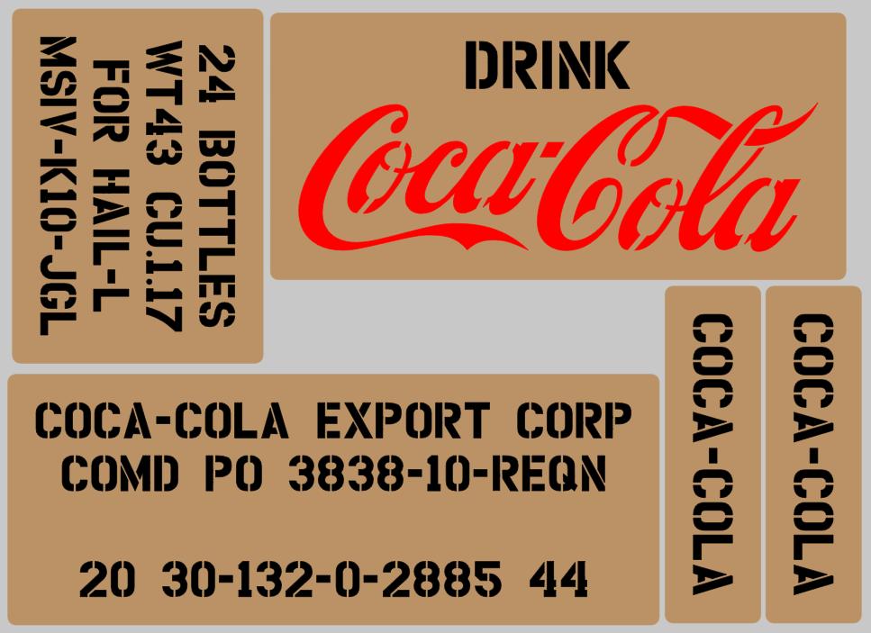 Coke Cola Soda drink box stencil set