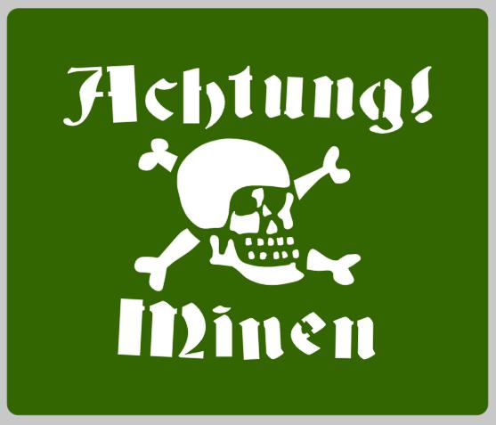 German Achtung Minen sign stencil stencil set for re-enactors ww2 army prop