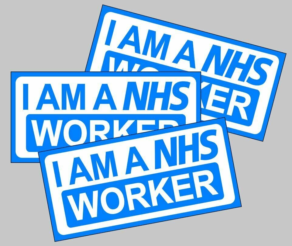 I am a NHS worker magnetic car sign for lockdown carers nurses Doctors support staff etc