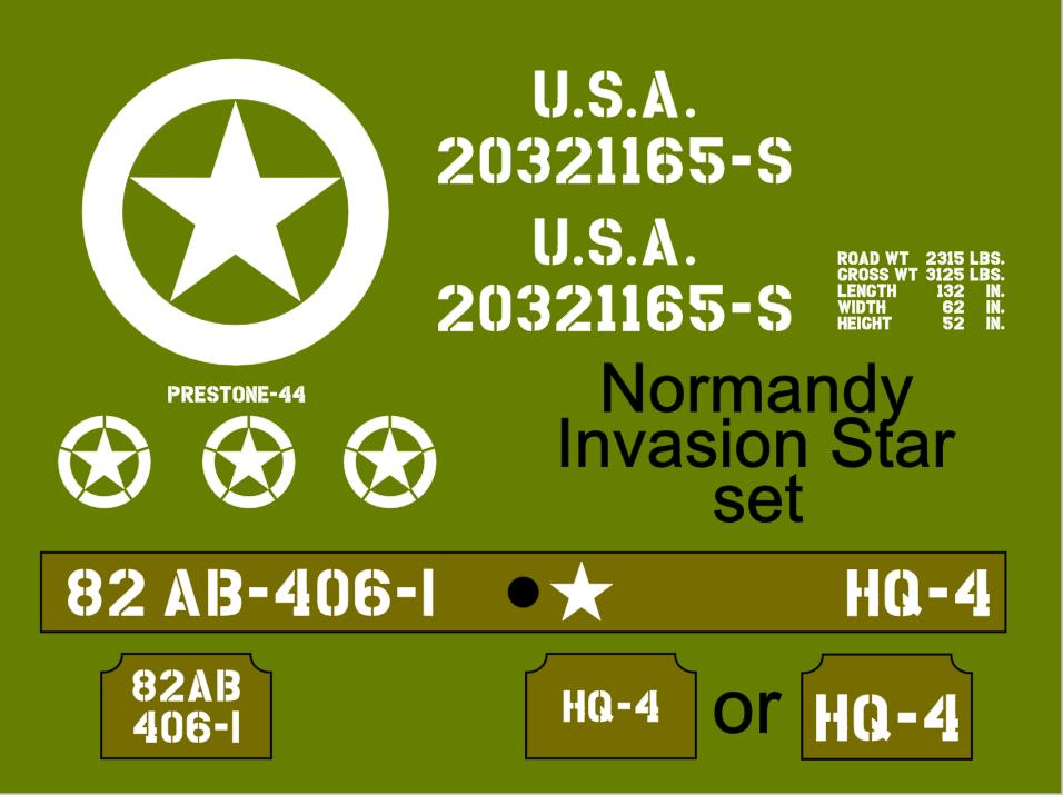 Jeep Normandy Invasion Star stencil set ww2 army Jeep Willys Ford Hotchkiss