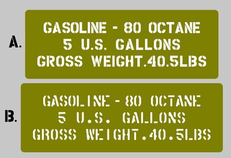 Jerry Can Gasoline 80 stencil Mk2