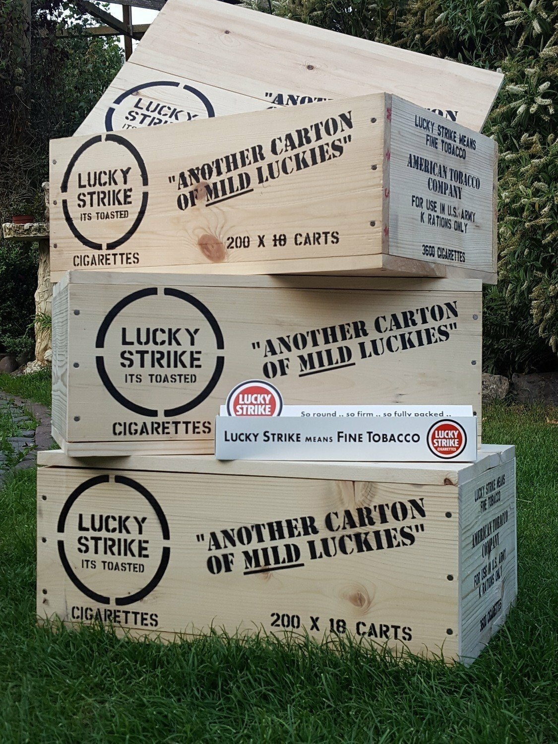 Lucky (Luckies) Strike crate stencil set for re-enactors ww2 army prop