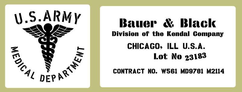 Medical stencil set, Bauer & Black (med 9) stencil set for re-enactors ww2 army prop