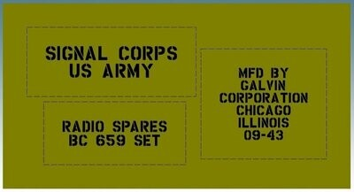 Radio spares parts box stencil set for re-enactors ww2 army