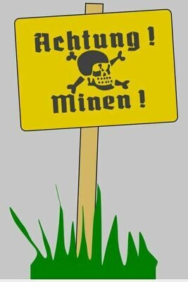 German Achtung Minen sign stencil (Mk2)