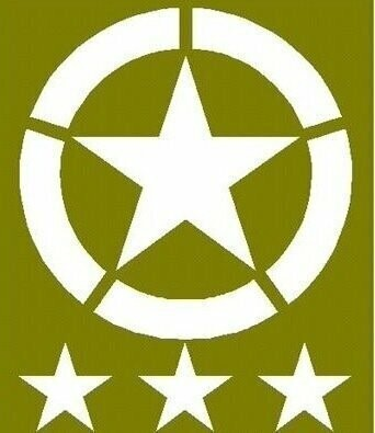 """Invasion star set 20"""" Dia and three 6"""" tub stars for ww2 Jeep willys Ford stencil set for re-enactors ww2 army Jeep prop"""