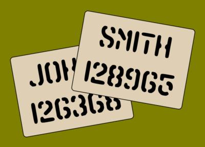 Name and number stencil for re-enactors prop ww2 wartime