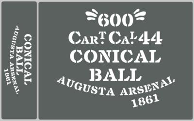 Conical Ball ammunition box stencils American Civil war (A) prop