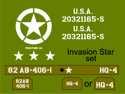 1/12 1:12 Scale Jeep Invasion Star Jeep stencil set to suit Dragon RocHobby size model