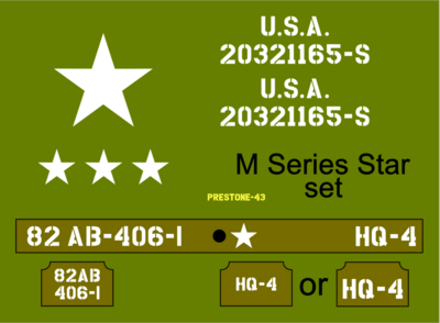 1/12th 1:12 Scale Jeep M Series star stencil set to suit Dragon RocHobby size model