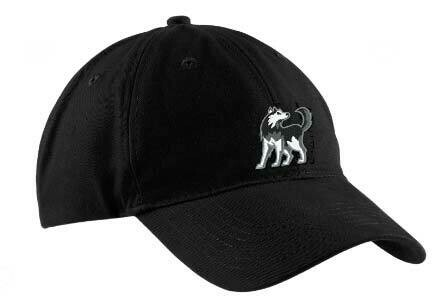 Black Baseball Hat with Husky Logo