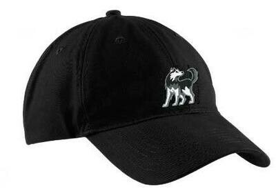 Black Baseball Hat with Husky Logo