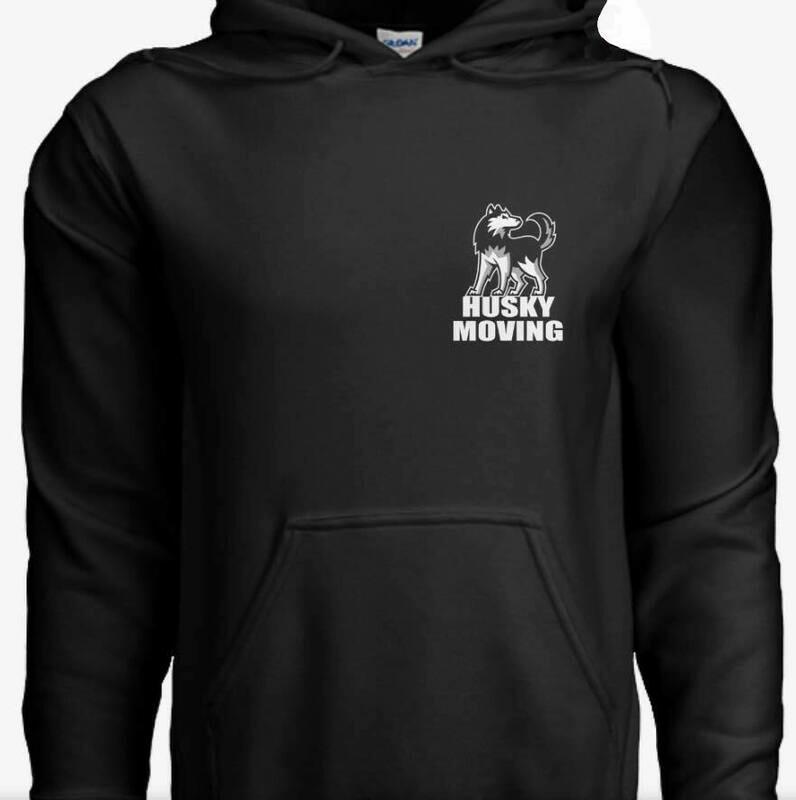 Black Husky Moving Adult Heavy Blend 8 oz., 50/50 Hood by Gildan