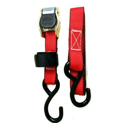 EVEREST 1 in. x 10 ft. Red Cam Buckle S- Hook Strap 900 lbs. Capacity