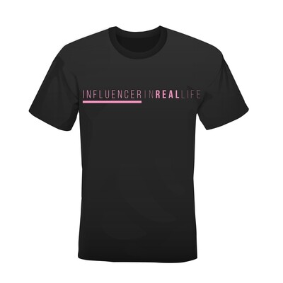 SMALL ONLY - Influencer in Real Life Black T-shirt