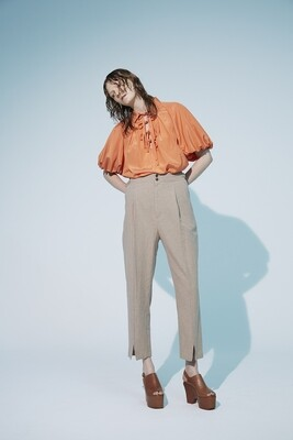Cotton Linen Hem Slit Pants